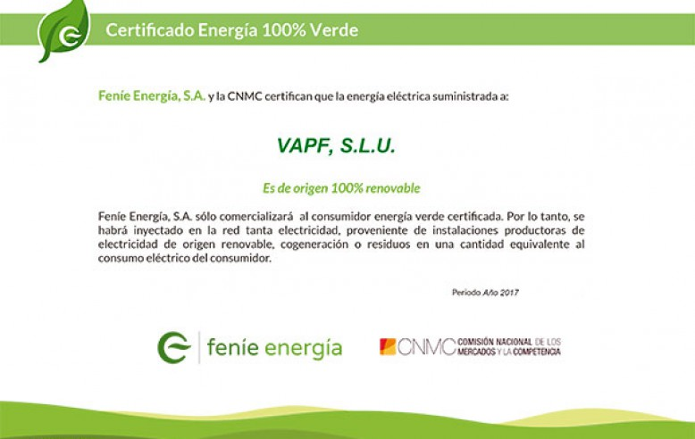100% grünes Energiezertifikat.